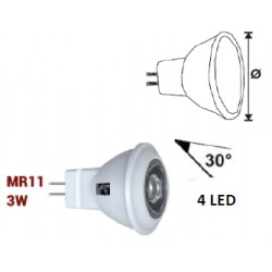 POWER LED MR11 3W 12V ALB CALD 30'