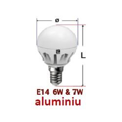 BEC POWER LED 240V SFERIC DIMABIL E14 7W LUMINA calda - MAT